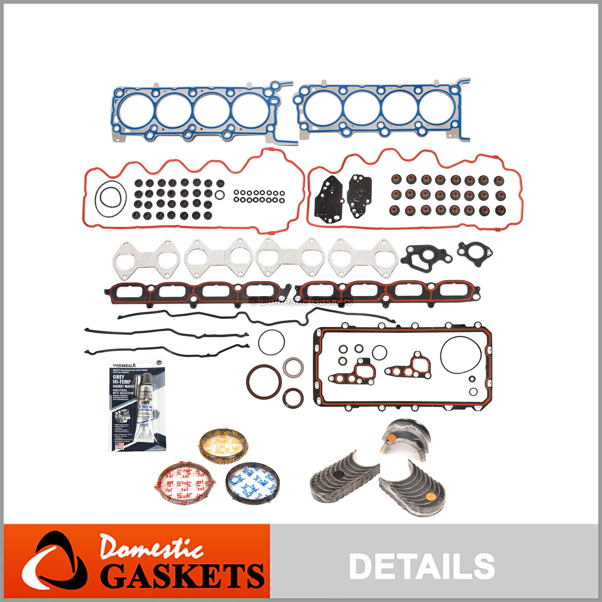 Full Gasket Set Bearings Rings Fit 07-12 Ford F150 F250 5.4 TRITON 3-Valve